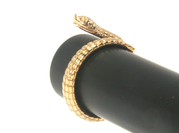 Hognose Snake  Ring US4 / Fountain Pen Roll-stoppe in Polished Bronze