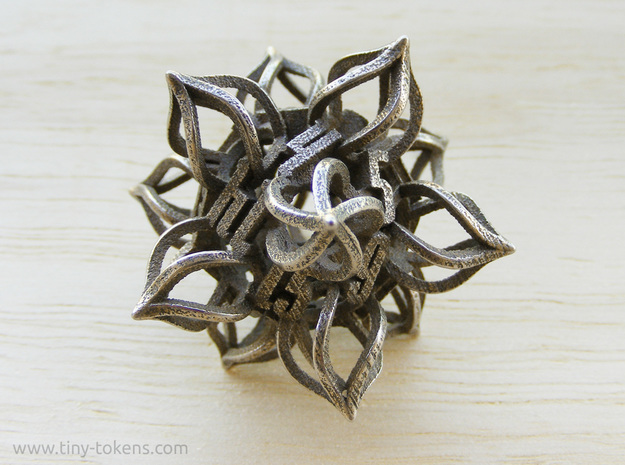 'Kaladesh' D20 Balanced Gaming Die in Polished Bronzed Silver Steel