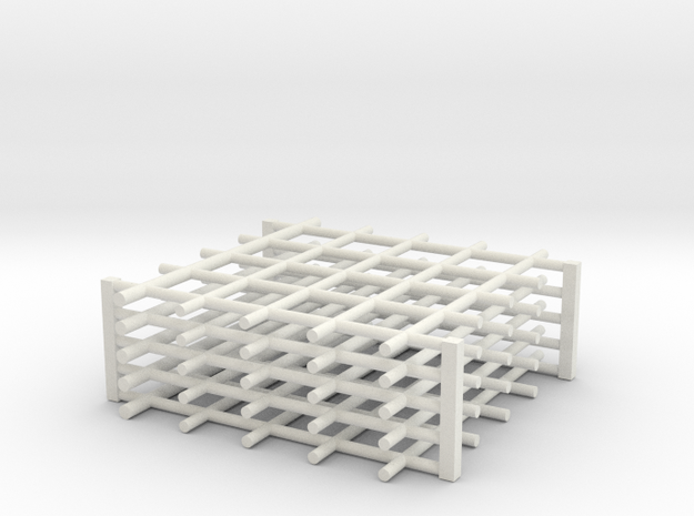 Rebar Grid 4 Feet x 4 Feet 1-87 HO Scale  in White Natural Versatile Plastic: 1:87
