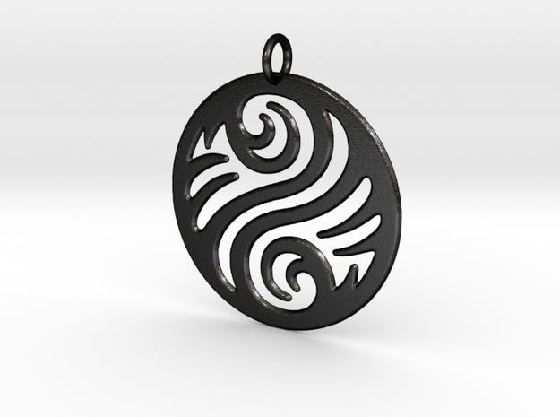 Waves Pendant in Matte Black Steel