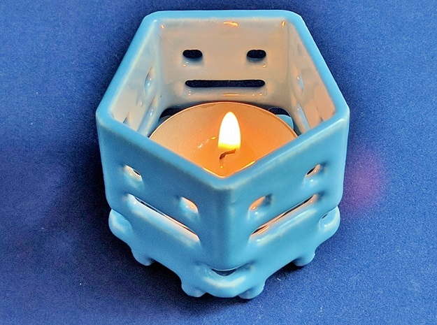 Turbo Buddy Tea Light in Gloss Blue Porcelain