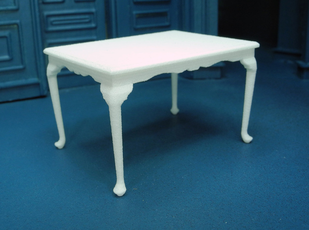 1:24 Queen Anne Dining Table, Medium in White Strong & Flexible