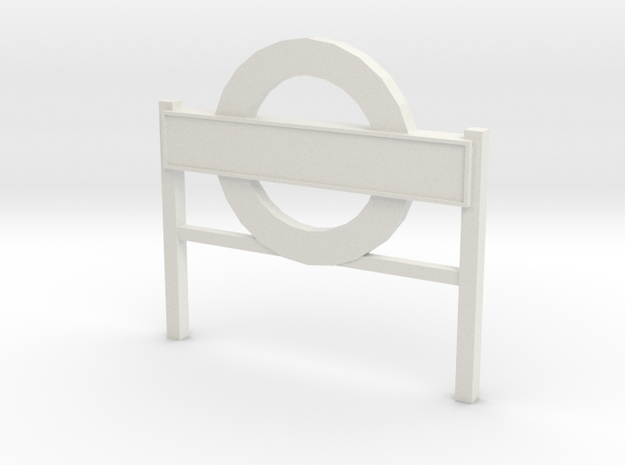 4mm Scale London Underground Platform Sign in White Natural Versatile Plastic