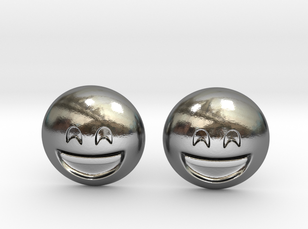Smiling Emoji with Smiling Eyes in Polished Silver