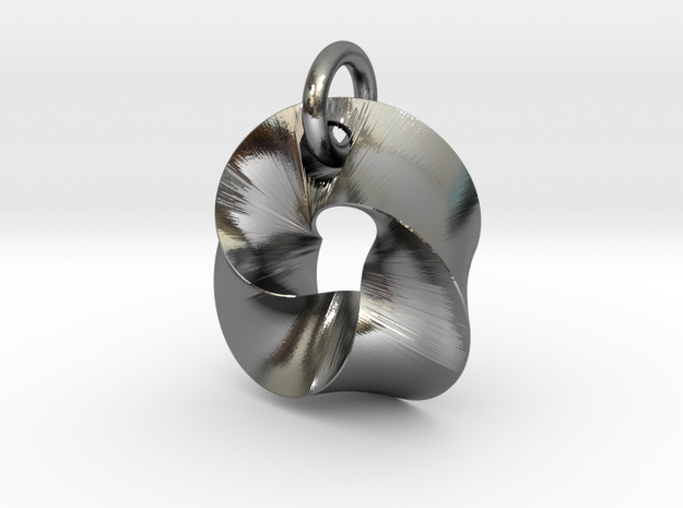 LittleTwisted Pendant  in Polished Silver (Interlocking Parts)