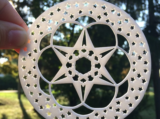 Camping Under the Stars Snowflake Ornament in White Natural Versatile Plastic