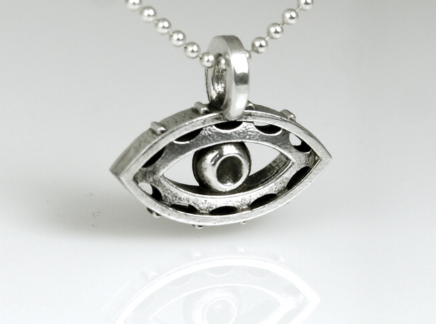 Evil Eye charm in 14k White Gold