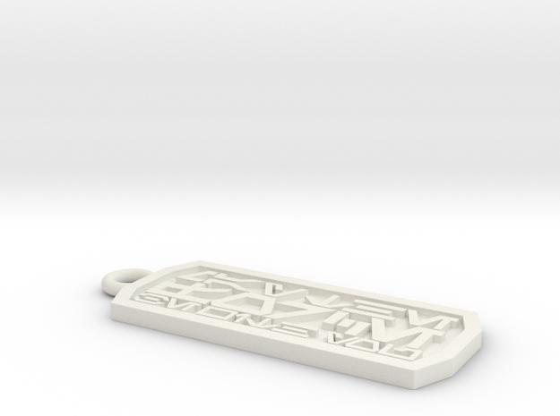 Aurebesh Keychain in White Natural Versatile Plastic