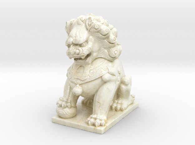 Chinese Guardian Lion in Coated Full Color Sandstone