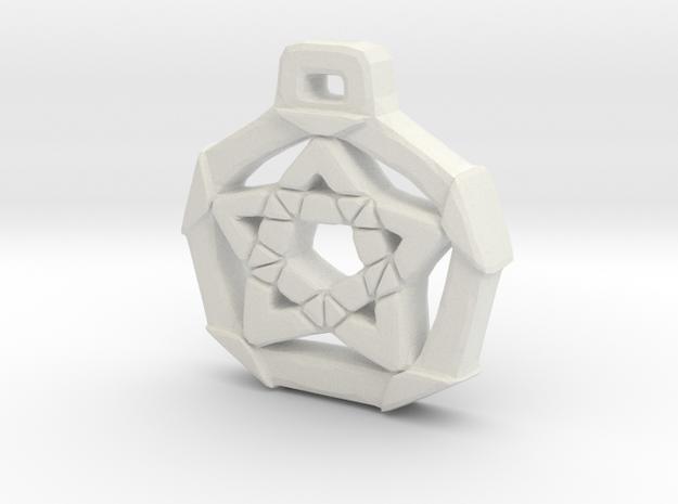 Unique Pentacle pendant in White Natural Versatile Plastic