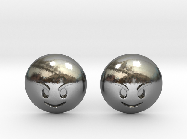 Evil Smile Emoji in Polished Silver