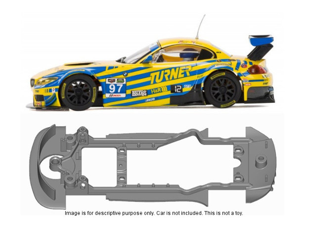 S11-ST4 Chassis for Scalextric BMW Z4 GT3 SSD/STD in Black Natural Versatile Plastic