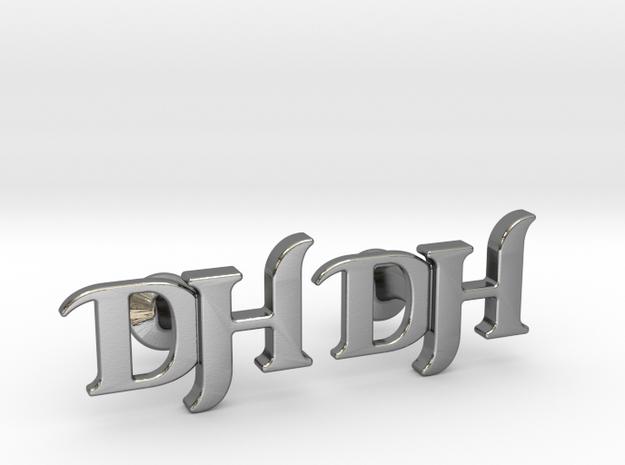 Monogram Cufflinks DH in Polished Silver