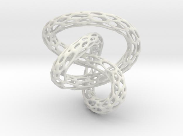 Infinite Knot - Voronoi Pendant in White Natural Versatile Plastic