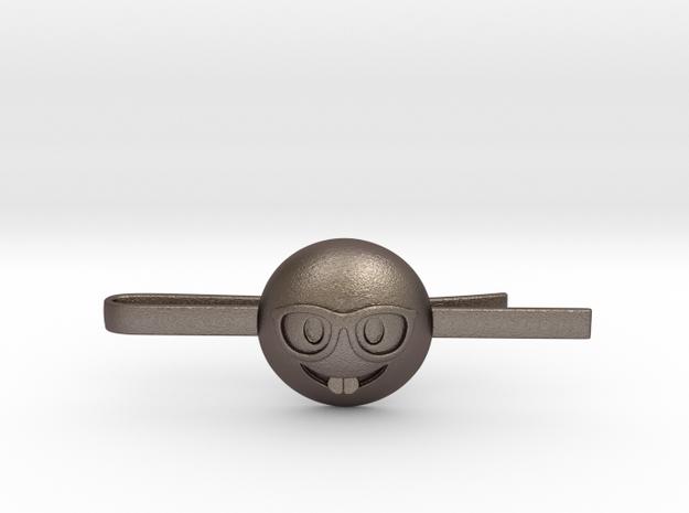 Nerd Tie Clip in Polished Bronzed Silver Steel
