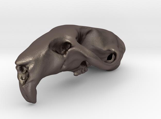 RAT SKULL PENDANT in Polished Bronzed Silver Steel