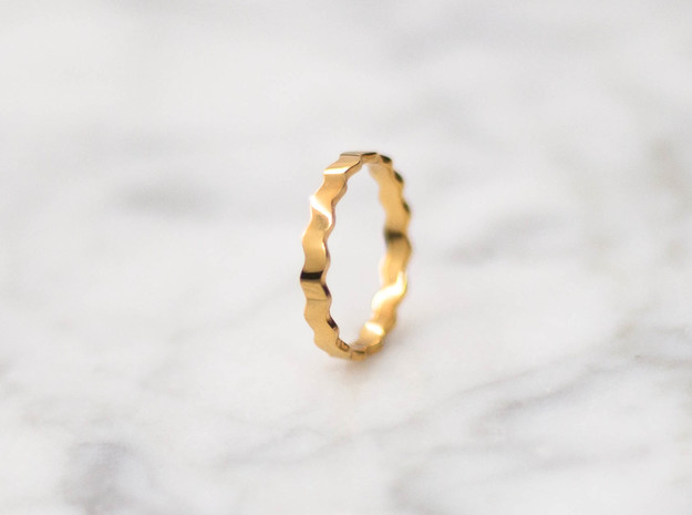 Waves v1 | 3 sizes   in 18k Gold Plated Brass: 6 / 51.5