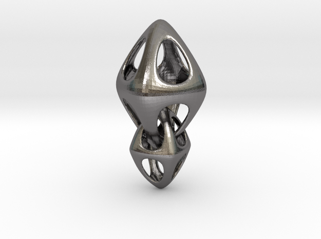 Tetrahedron Double Interlocked in Polished Nickel Steel