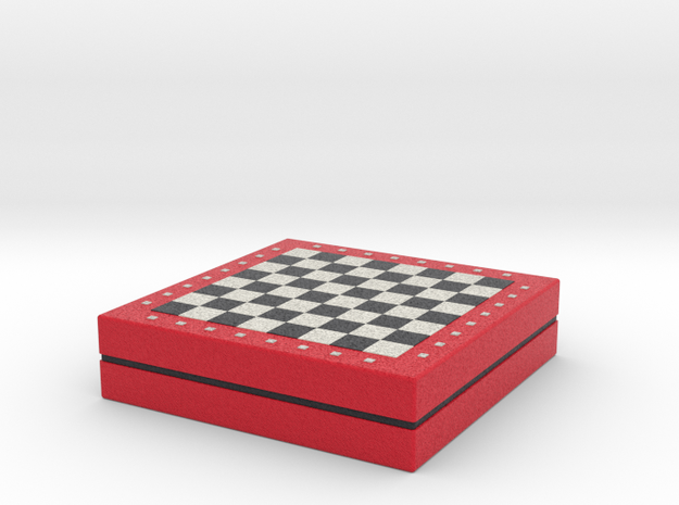 Chess board on storage box various scales
