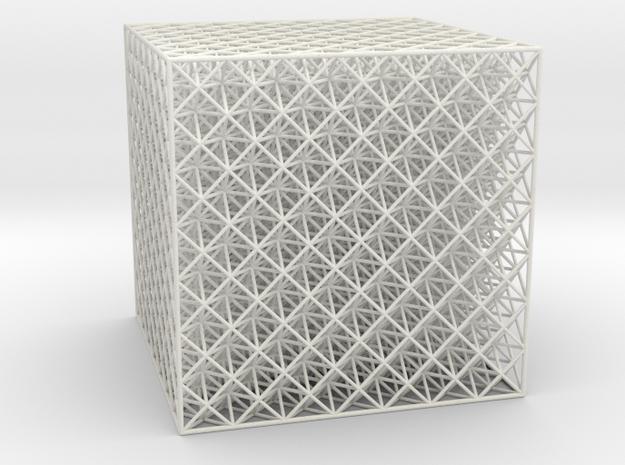 Octet Truss Cube (7x7x7) in White Natural Versatile Plastic