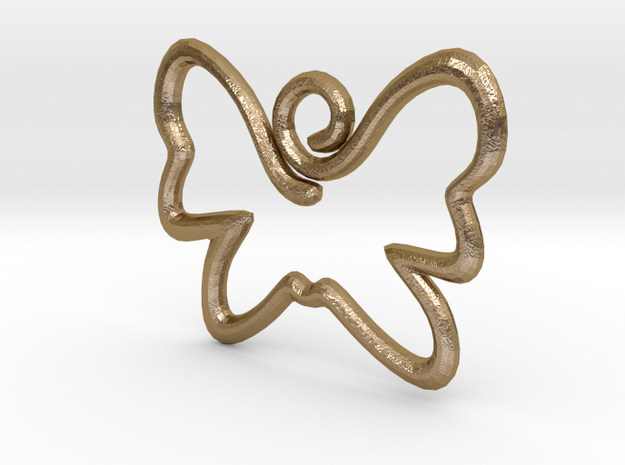 Swirly Butterfly Pendant in Polished Gold Steel
