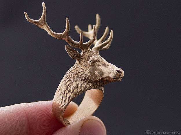 Deer Stag head ring. Hollow. in Polished Bronze: 11.5 / 65.25