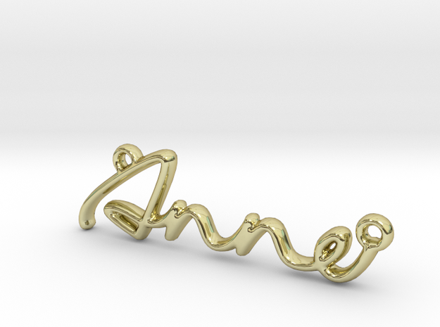 ANNE Script First Name Pendant in 18k Gold Plated Brass