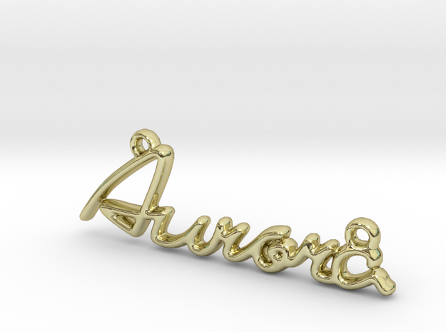 AURORA Script First Name Pendant in 18k Gold Plated Brass