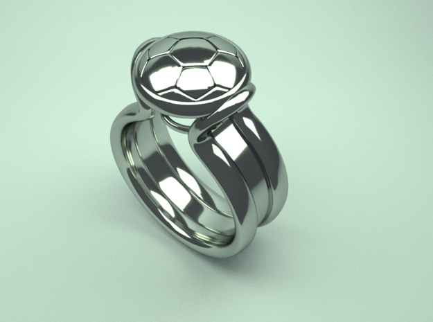 Soccer-ball-ring in Polished Silver: 9 / 59