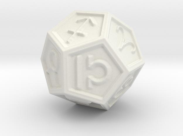 Dodec Zodiac in White Natural Versatile Plastic: Small
