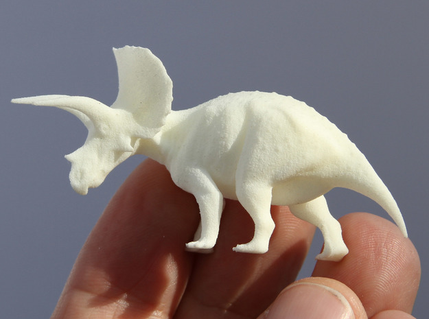 Triceratops Krentz 3d printed White Strong and Flexible
