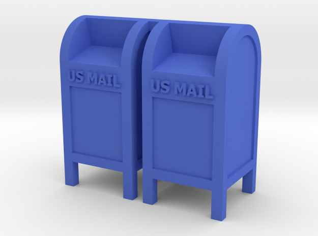Mail Box - 'O' 48:1 Scale (2) in Blue Processed Versatile Plastic