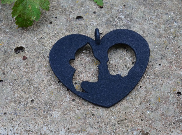 Mother child pendant in Black Natural Versatile Plastic