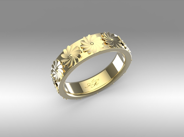 Flowers in Spring 3d printed Perhaps Gold Plated Brass