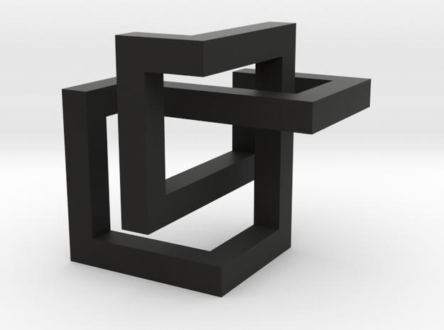 Cube Knot  in Black Natural Versatile Plastic