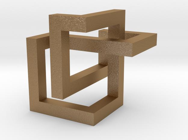 Cube Knot  in Matte Gold Steel