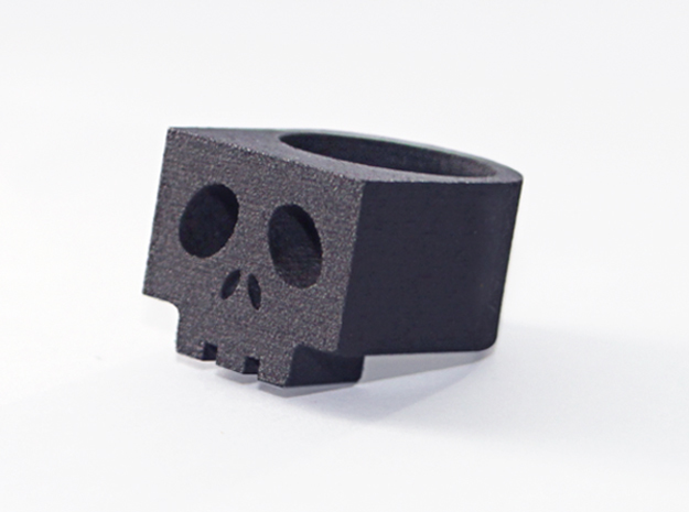 Cubic SkullRing US Size 6½ in Matte Black Steel