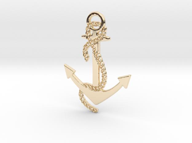 Anchor Pendant in 14K Gold