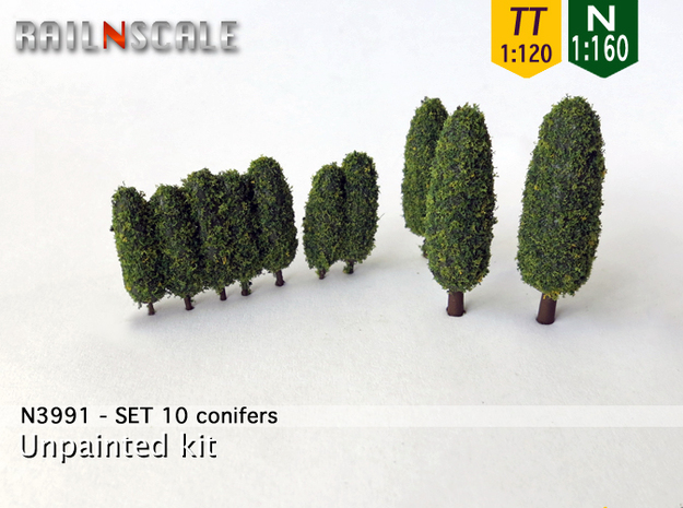 SET 10x Conifers (N 1:160 - TT 1:120) in White Natural Versatile Plastic