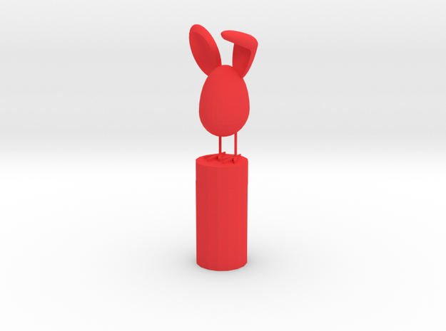 Bunny Pencil Topper in Red Strong & Flexible Polished: Medium
