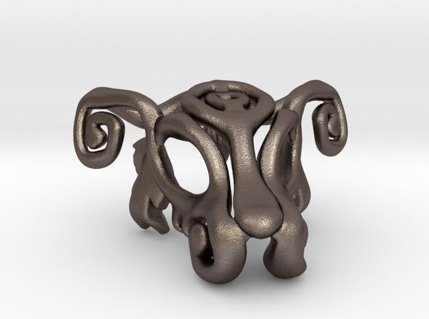 Dog Mask Keychain 2 in Polished Bronzed Silver Steel