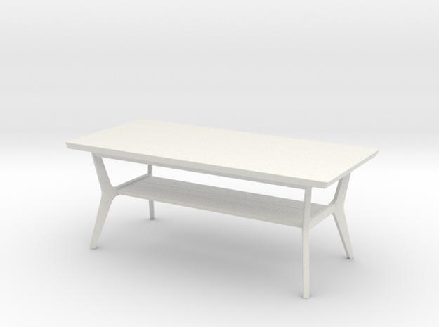 Retro Coffee Table in White Natural Versatile Plastic: 1:12