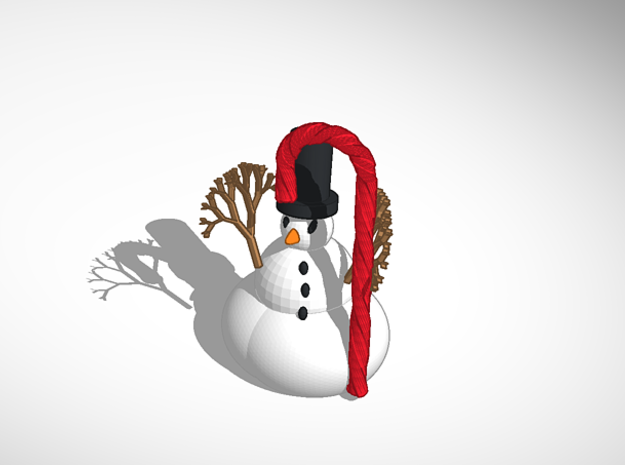 The Snowman In Top Hat With Candy Cane 3d printed https://tinkercad.com/things/3PeTLd2hUD9-the-snowman-candy-cane tinker it here