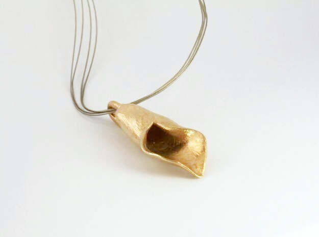 lilly pendant in Raw Brass