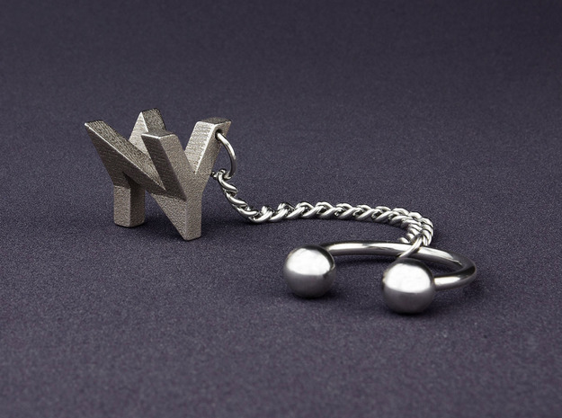 Mymo Steel Keychain 3d printed Shown with N and Y, pick any two letters or numbers