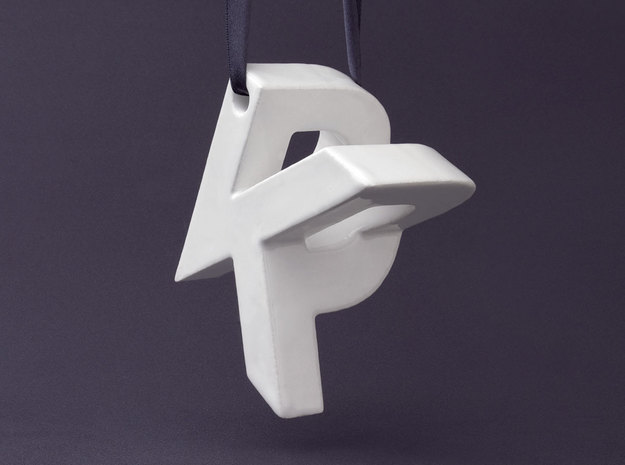 Mymo Ceramic Ornament 3d printed Shown with K and P, pick any two letters or numbers