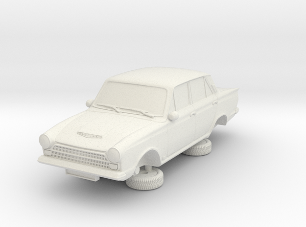 1-87 Ford Cortina Mk1 4 Door in White Natural Versatile Plastic