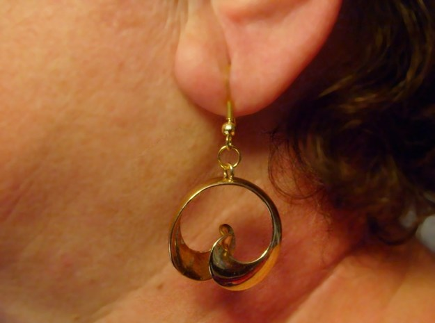 MobTor Earrings: the half Mobius Torus Shell in 14k Gold Plated Brass
