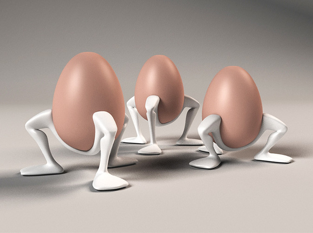 """Egg cup """"Leggies"""" in White Strong & Flexible Polished"""
