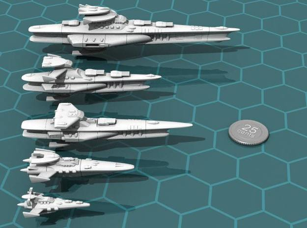 Novus Regency Fast Cruiser 3d printed The Hermes class cruiser (center) in relation to the other Novus Regency ships.